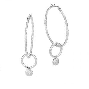 John Hardy silver hammered Hoops logo earrings